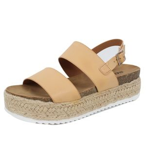 Nude Open Toe Espadrille Flatform Wedge